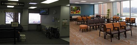 Repurposed Health Center Waiting area before and after