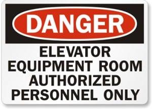Danger Elevator Equipment Room Sign