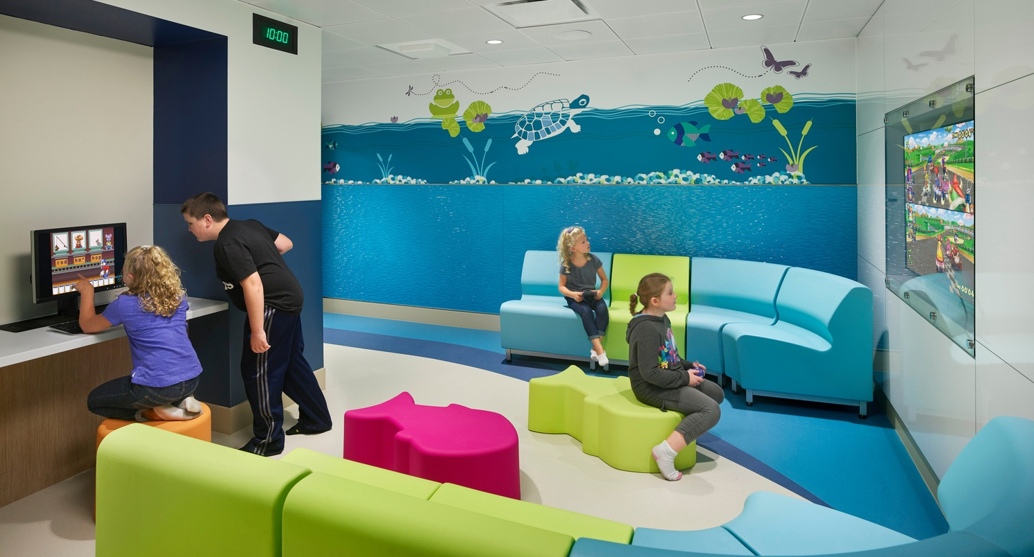 Aquatic themed colorful behavioral health area at CNMC