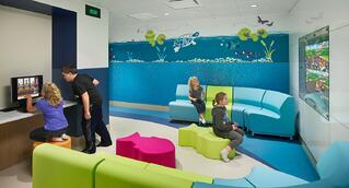 Aquatic themed colorful behavioral health area at CNMC