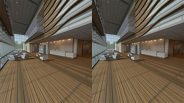 Stereoscopic Image of a 3D Rendering Hospital Virtual Reality