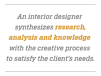 Quote graphic An interior designer synthesizes research, analysis and knowledge with the creative process to satisfy the client's needs.