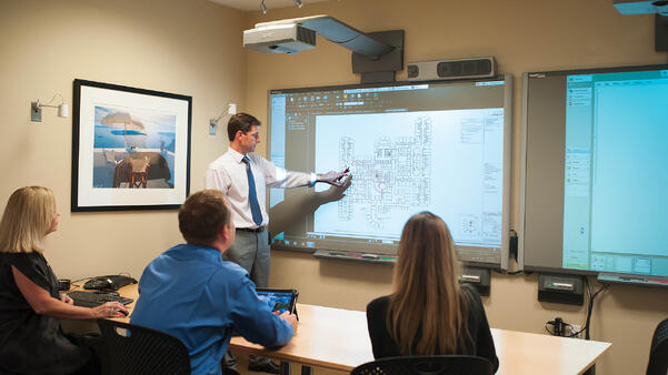 Building Information Modeling being presented on projection screen