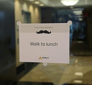 Movember Challenge Sign on Glass Door